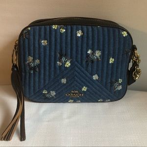 Coach Camera Bag with Floral Bow Print Denim New